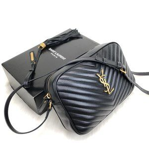 %100 Leather Black Color Leather Ysl Camera Bag